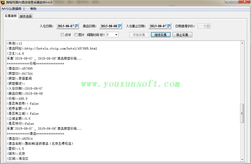 携程网国内酒店信息采集软件V4-1