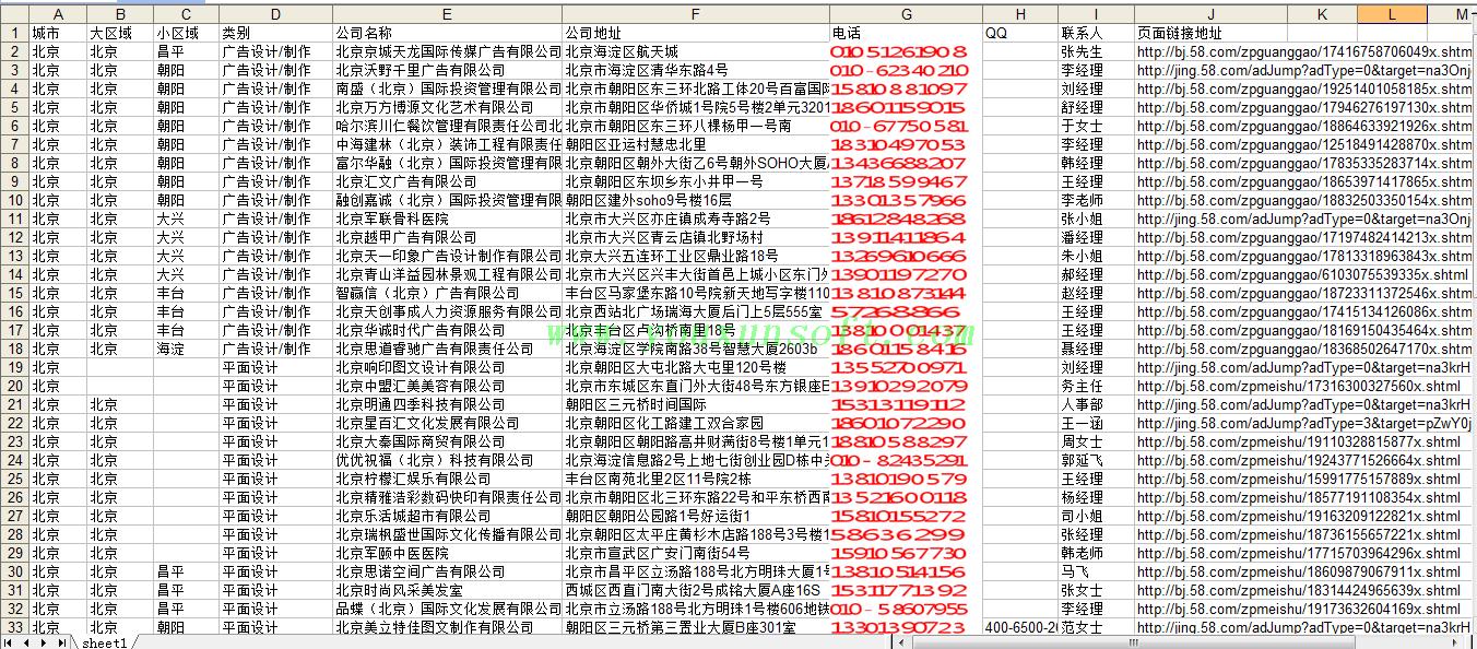 58赶集网平面设计与招聘分类数据采集器-6