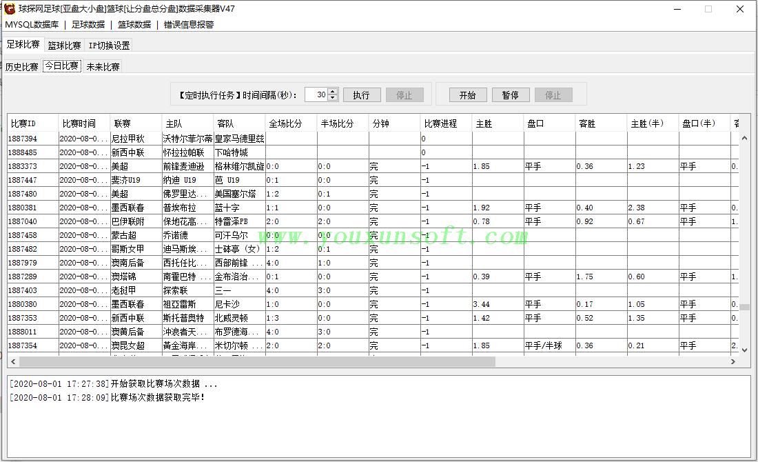 球探网足球[亚盘大小盘]篮球[让分盘总分盘]数据抓取采集器V47_2