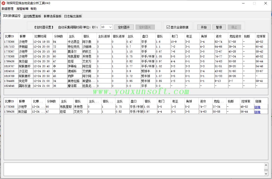 球探网亚指走地变盘监控分析工具V43_1