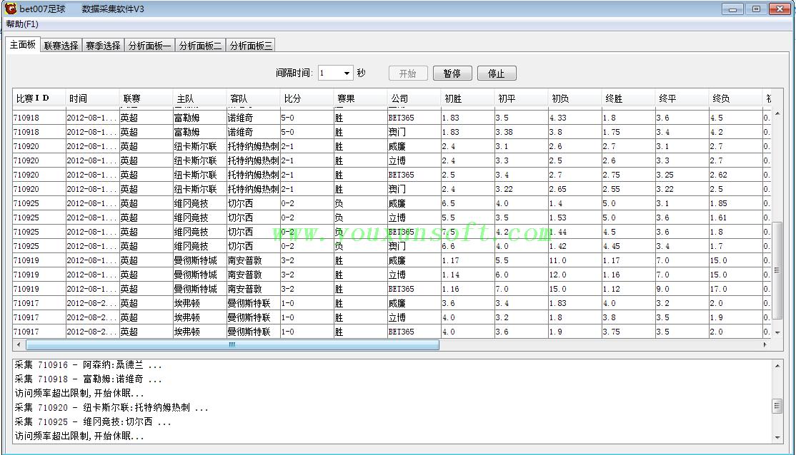 球探网足球赔率数据采集软件V3-2