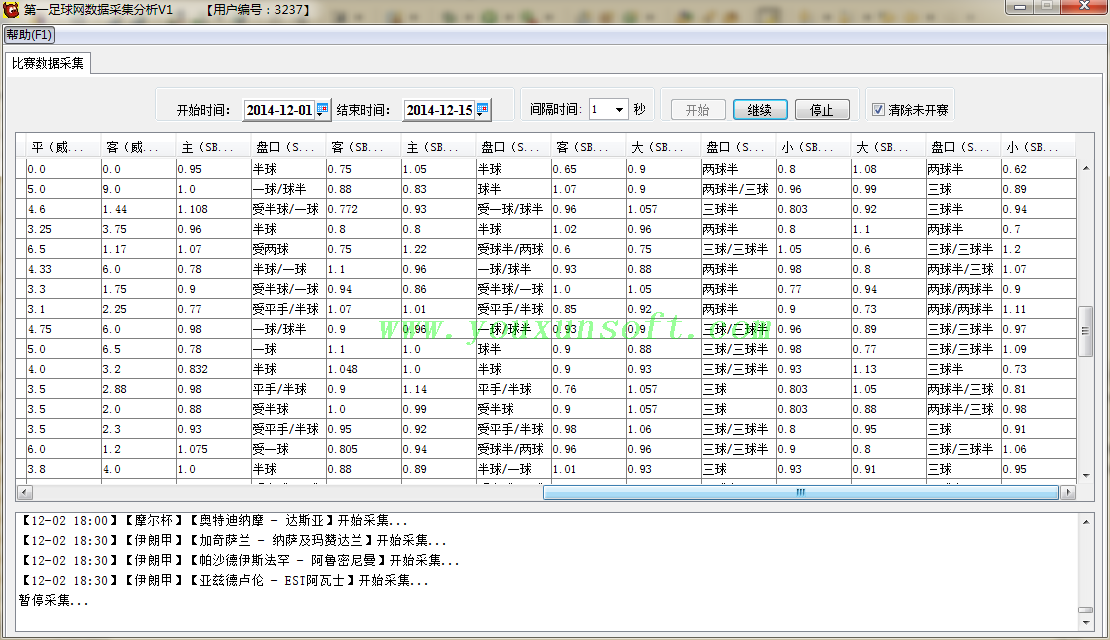 第一足球网足球赔率数据采集分析器V1-1