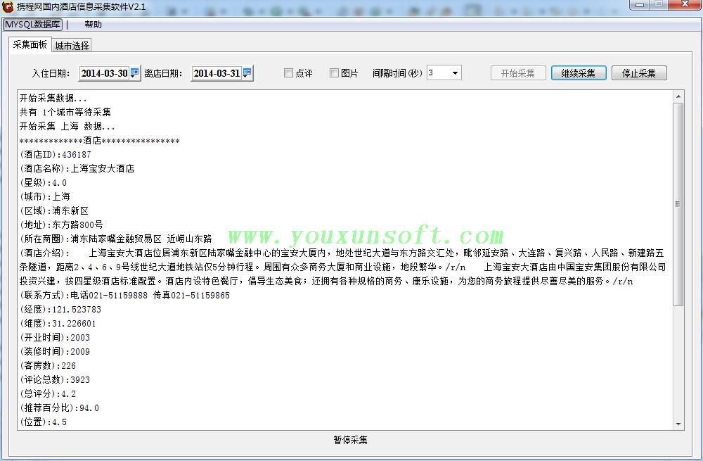 携程网国内酒店信息采集软件V2.2