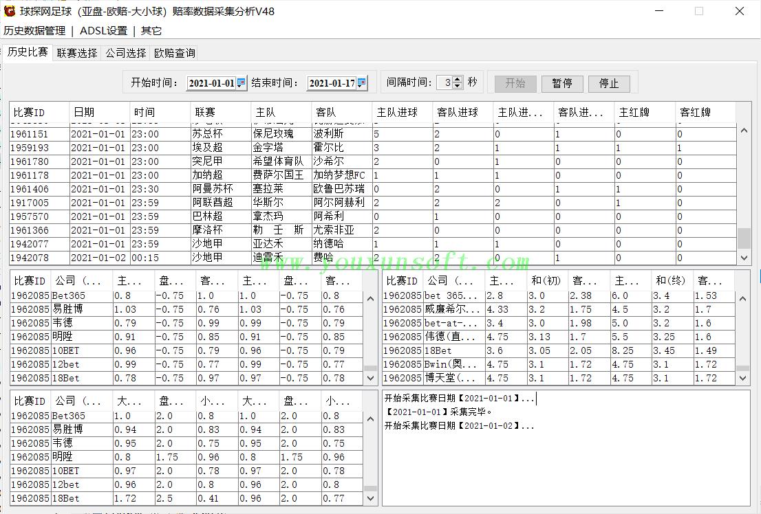 球探网足球(亚盘-欧赔-大小球)赔率数据采集分析V48