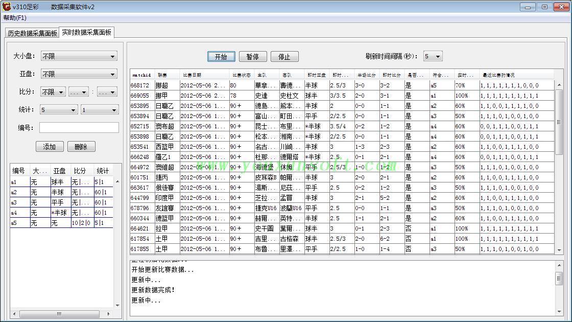 大赢家足球赔率数据采集软件V2-1