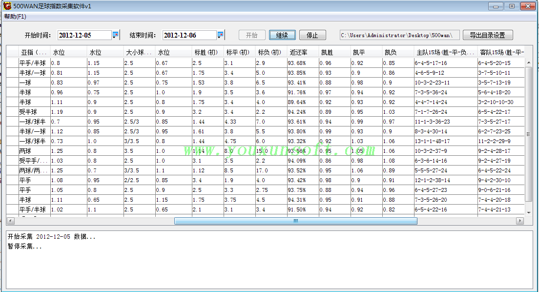 500足球赔率数据采集软件-2