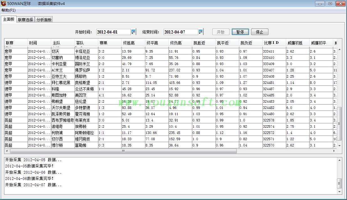 500足球赔率数据采集软件-12