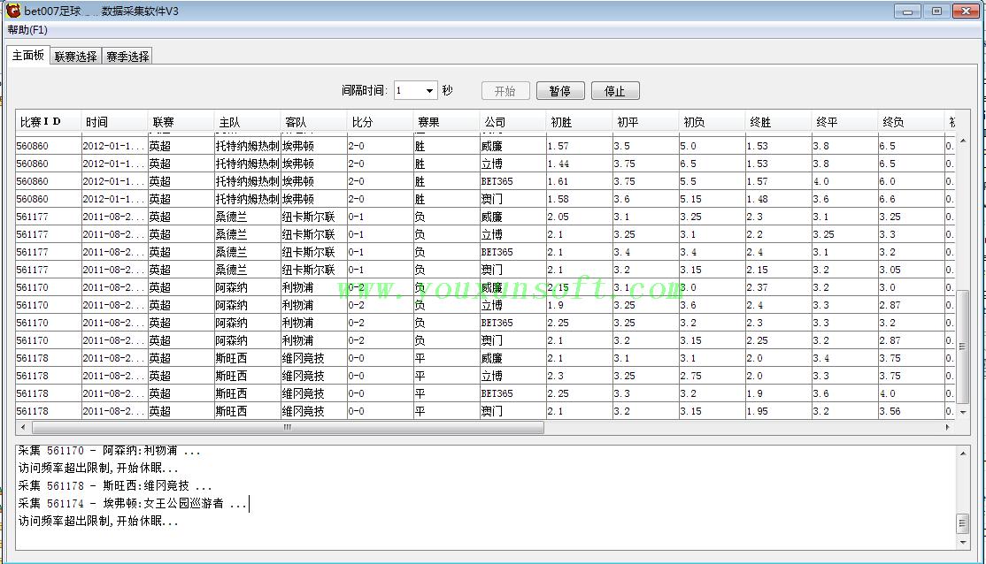 球探网足球赔率数据采集软件V3-4