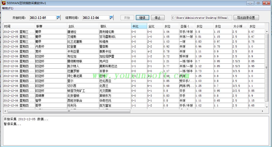 500足球赔率数据采集软件-1